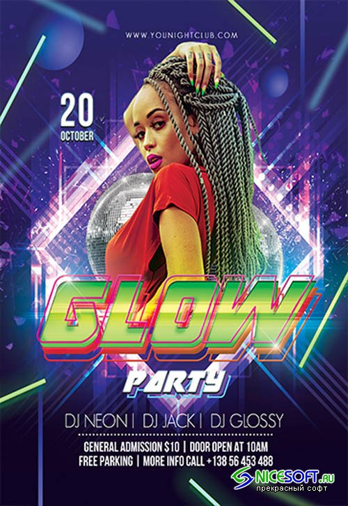 Glow Party V0910 2019 Premium PSD Flyer Template