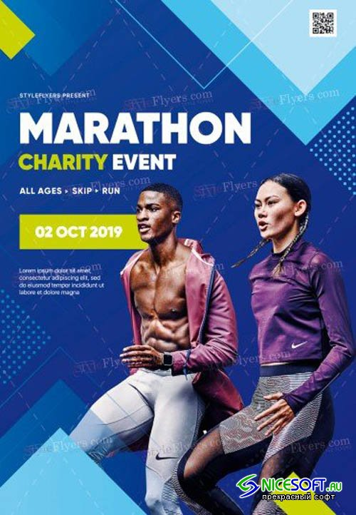 Marathon Charity Event V0910 2019 PSD Flyer Template
