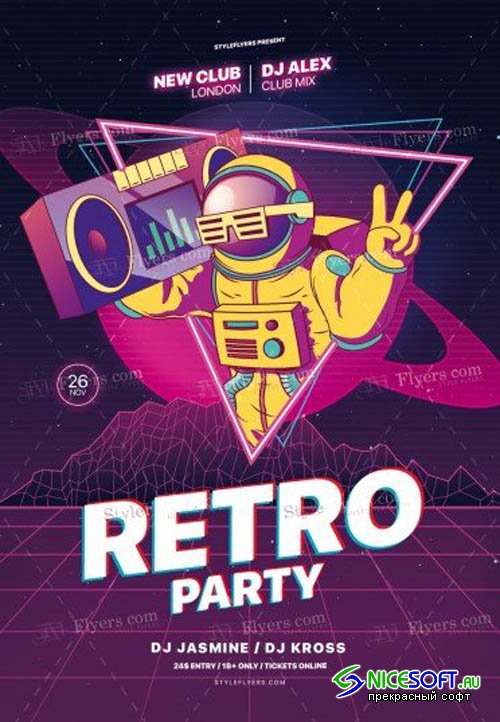 Retro Night V0910 2019 PSD Flyer Template