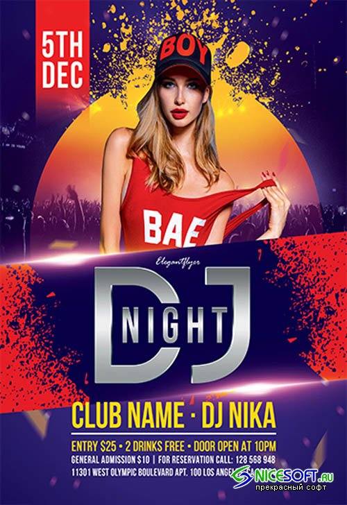 DJ Party V3110 2019 Premium PSD Flyer Template