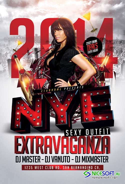 Extravaganza psd flyer template