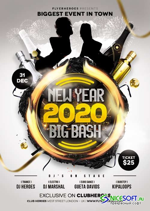 New Year Big Bash psd flyer template