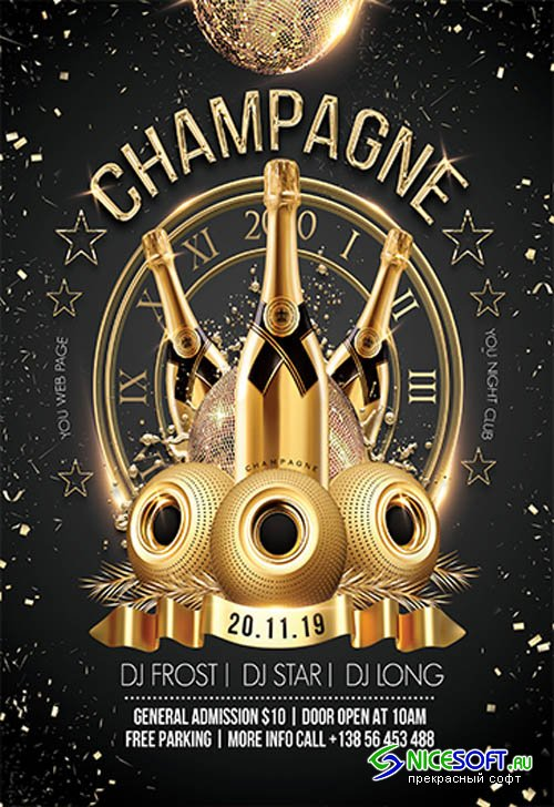 Champagne Night Party V2211 2019 Premium PSD Flyer Template