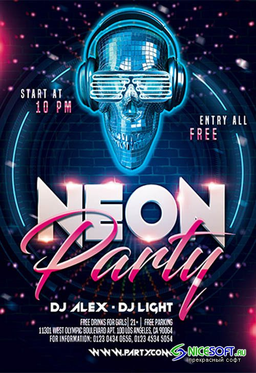 Neon Party V2211 2019 Premium PSD Flyer Template