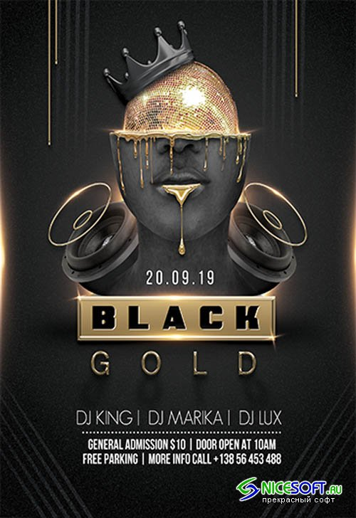 Black and Gold Party V2211 2019 Premium PSD Flyer Template