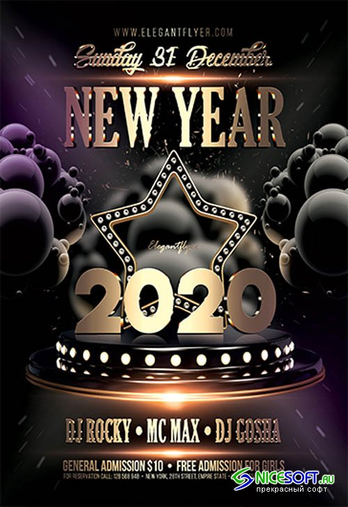 Dark New Year Party V2711 2019 Premium PSD Flyer Template