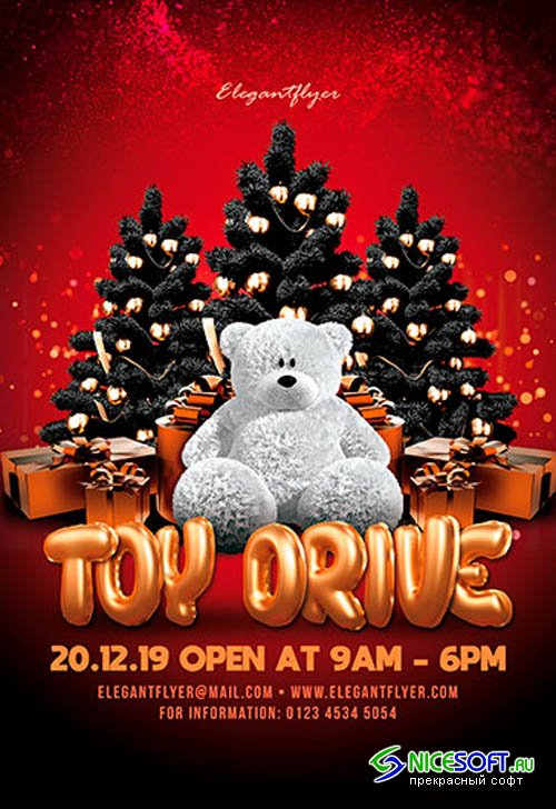 Christmas Toy Drive V2711 2019 Premium PSD Flyer Template