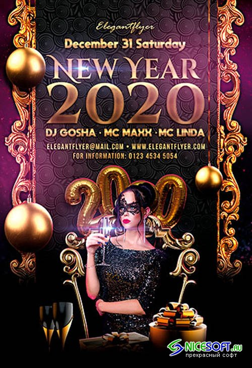 New Year 2020 V2611 Premium PSD Flyer Template