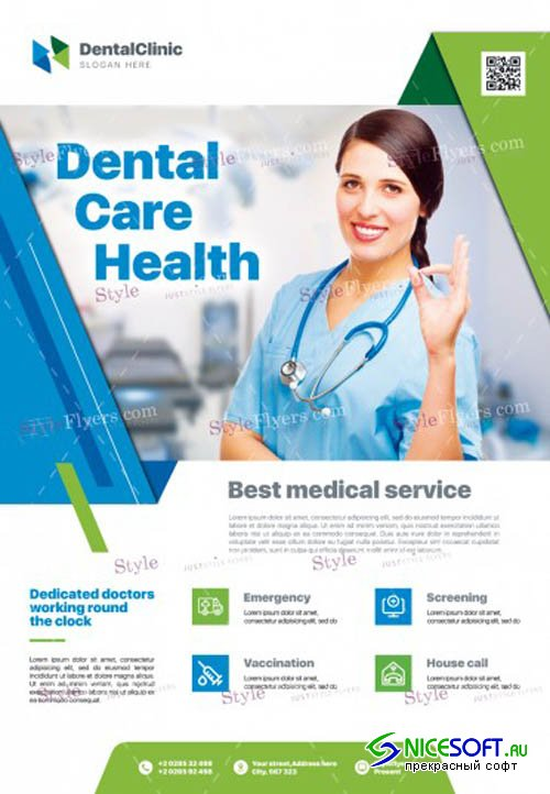 Dental Care Health V2912 2019 PSD Flyer Template