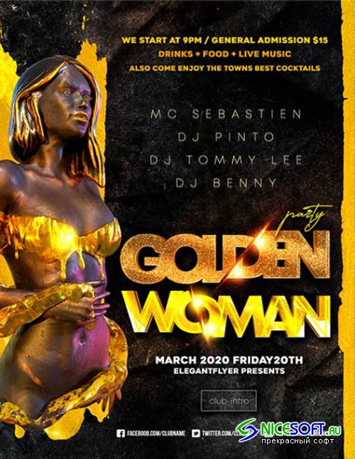 Golden Woman Party V1201 2020 Premium PSD Flyer Template